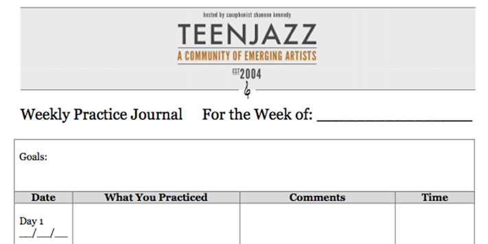 Teen Jazz Practice Journal Free Download